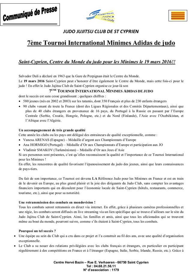 7ème Tournoi International Minimes de judo page 01
