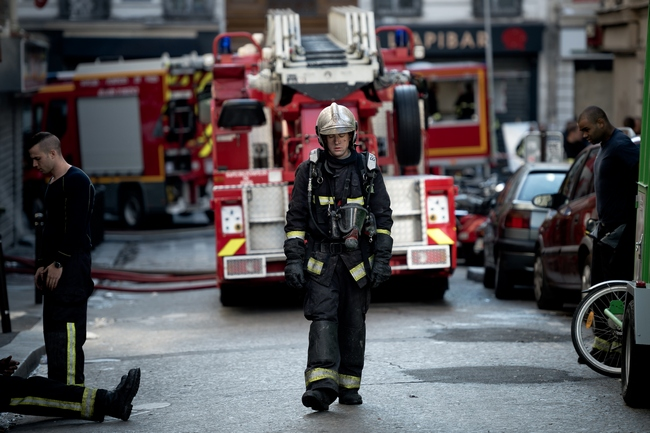The Paris Fire Brigade (Pompiers de Paris BSPP), the scientific police and criminal investigation at the scene of the fire. A fire has killed eight people, including two children, in the night from Tuesday to Wednesday in the building located at 4 rue Myrha in the eighteenth arrondissement of Paris, France. The criminal way is preferred by investigators of the Judicial Police (PJ). Photo by Nicolas Messyasz / Sipa Press