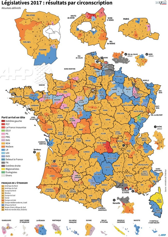Carte législatives 1er tour