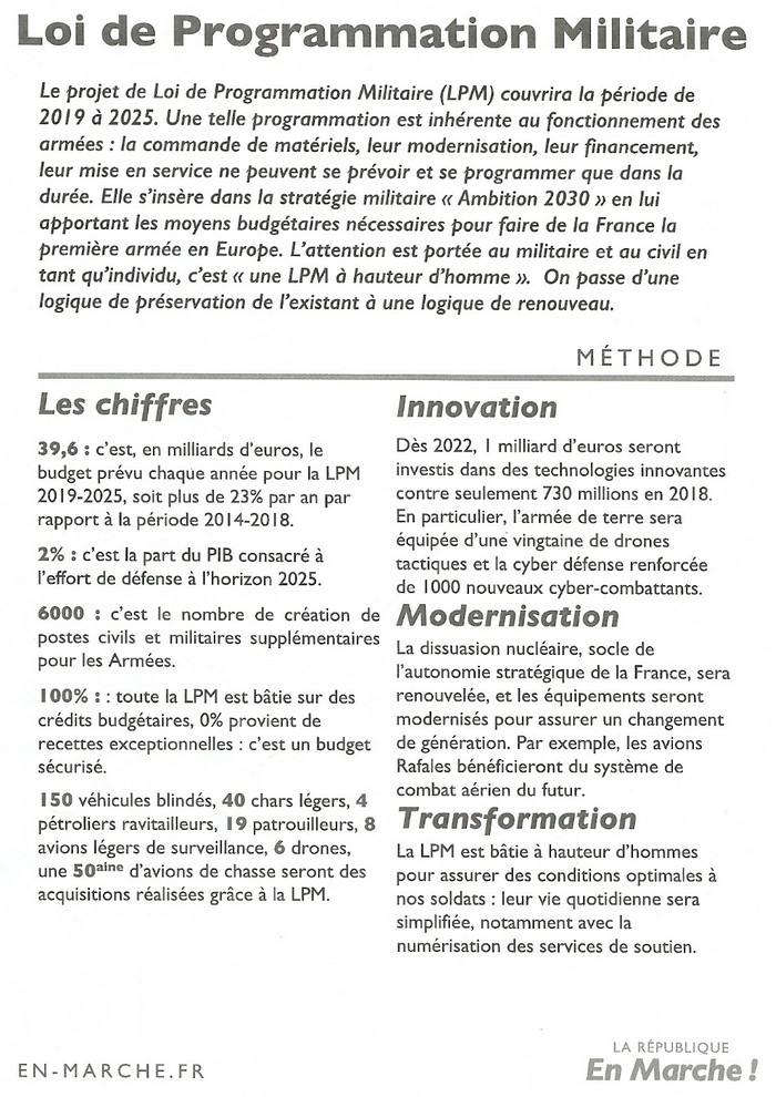 TRACTS LREM OCTOBRE 2018 - Programmation Militaire page 01